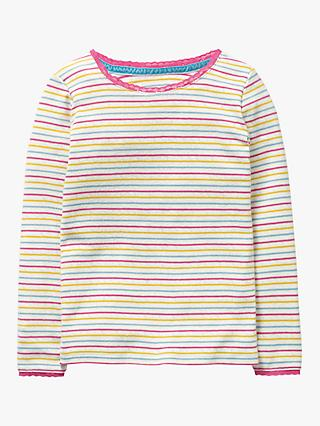 9cf23fe948bd Mini Boden Girls' Rainbow Stripe Pointelle T-Shirt, Multi