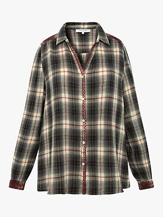 Gerard Darel Moon Check Cotton Shirt, Blue/Multi