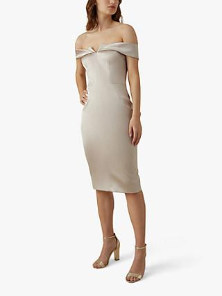 Karen Millen Origami Bardot Pencil Dress, Nude