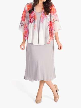 Chesca Chiffon Floral Shawl, Ivory/Pink