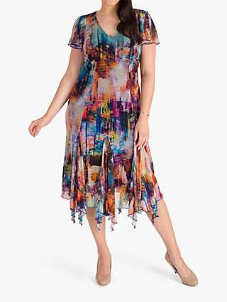 Chesca Cityscape Print Dress, Blue/Multi