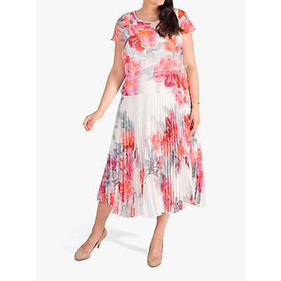 chesca Peony Pleated Dress, Ivory/Pink