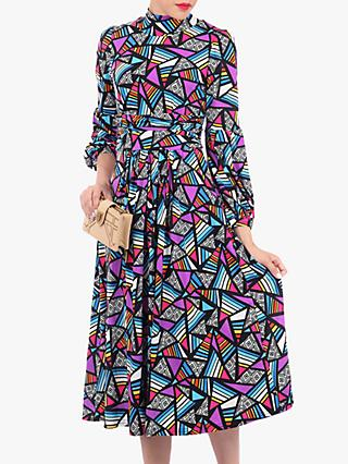 Jolie Moi Turtle Neck Long Sleeve Dress, Multi