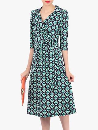 Jolie Moi Wrap Neck Bird Print Tea Dress, Blue/Multi