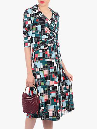 Jolie Moi Wrap Neck Geometric Print Tea Dress, Black/Multi