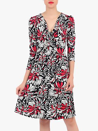Jolie Moi Floral Print Tie Front Dress, Black/Multi