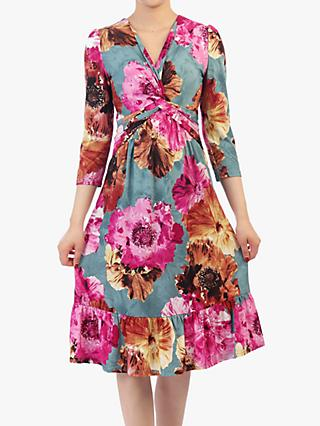 Jolie Moi Floral Print Flare Hem Dress, Blue/Multi