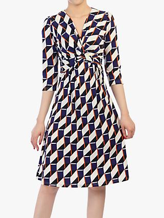 Jolie Moi Twist Front Elbow Sleeved Dress, Navy Geo