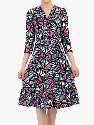 Jolie Moi Print Sleeved Flare Hem Dress, Purple/Multi