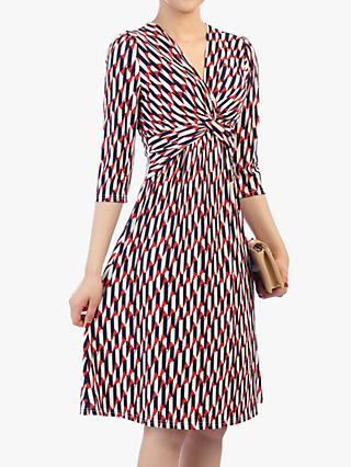 Jolie Moi Twist Front Elbow Sleeved Dress, Red/Multi