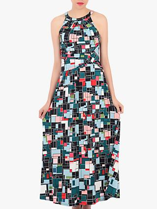 Jolie Moi Abstract Halter Neck Maxi Dress, Green/Multi