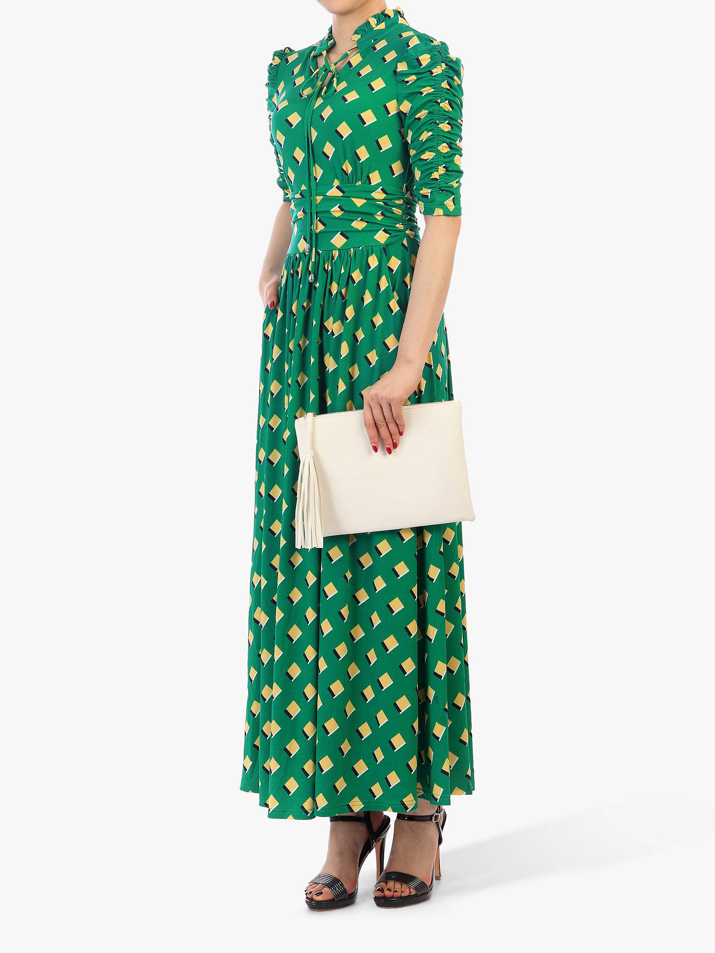 Buy Jolie Moi Geo Print Tie Collar Half Sleeve Maxi Dress, Green/Multi, 16 Online at johnlewis.com