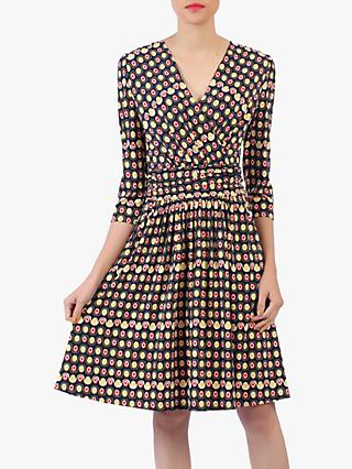 Jolie Moi Crossover Front Skater Dress, Multi