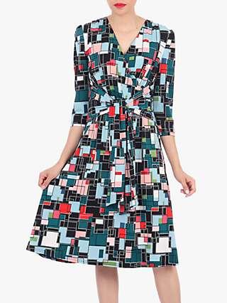 Jolie Moi Tie Front Wrap Dress, Black/Multi