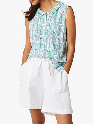White Stuff La Raza Sleeveless Shirt, Kahlo Green Print