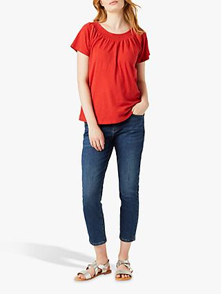 White Stuff Stars Around The Sun Cotton T-Shirt, Fiesta Red