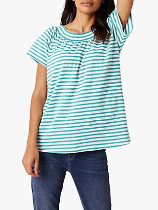 bf0b10eb85171d White Stuff Stars Around The Sun Stripe T-Shirt, Kahlo Green Stripe