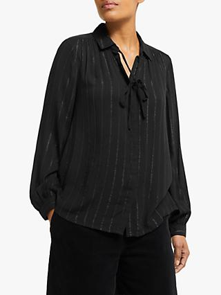Collection WEEKEND by John Lewis Easy Tie Neck Glitter Stripe Blouse, Black/Silver