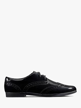 Clarks Children's Scala Lace Leather Shoes, Black Patent