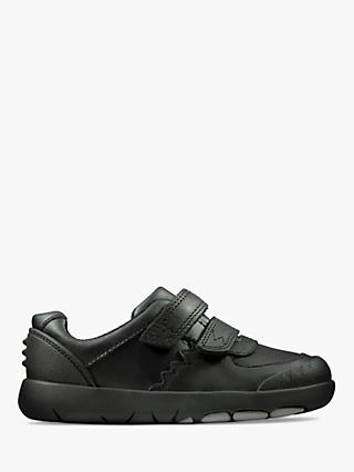 Clarks Children's Rex Pace Leather Toddler Shoes, Black