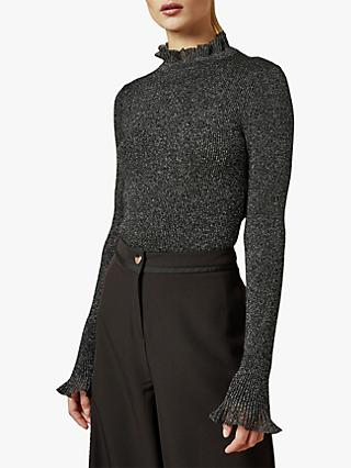 Ted Baker Milnia Frill Neck Ribbed Metallic Jumper, Black