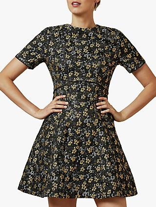 Ted Baker Divwine Floral Jacquard Skater Dress, Black