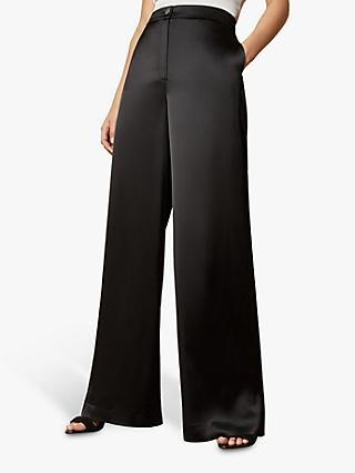 Ted Baker Iliannt Wide Leg Satin Trousers, Black