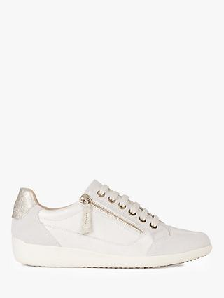 Geox Women's Myria Suede Lace Up Trainers, Champagne