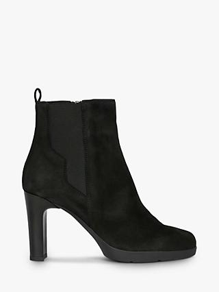 Geox Women's Annya Suede Heeled Ankle Boots, Black
