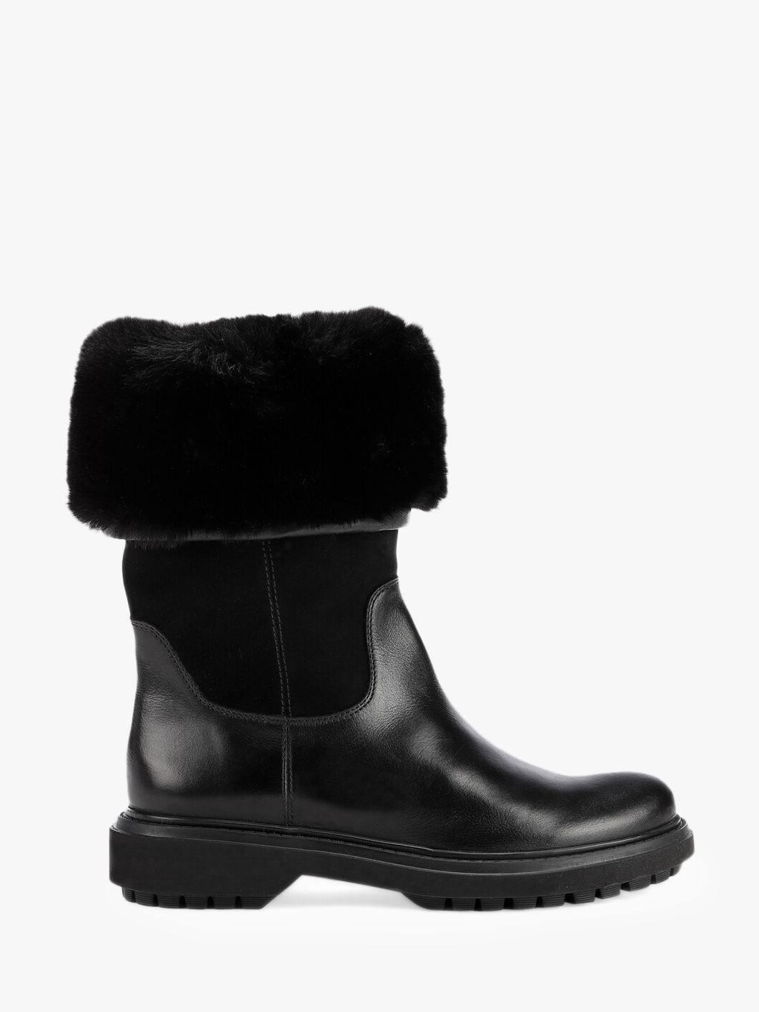 Geox Geox Women's Asheely Fur Calf Boots, Black