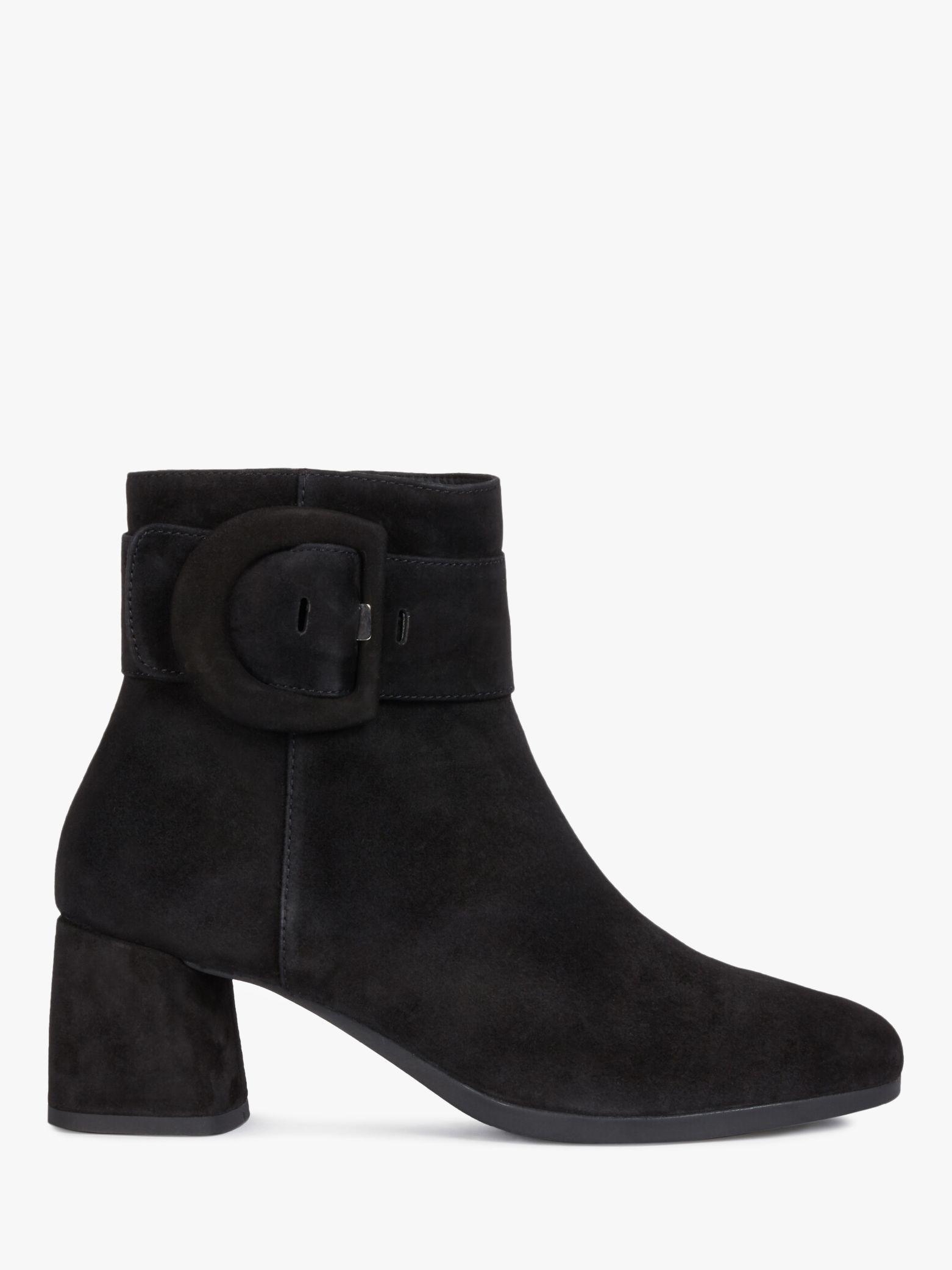 Geox Geox Women's Calinda Suede Block Heel Ankle Boots, Black