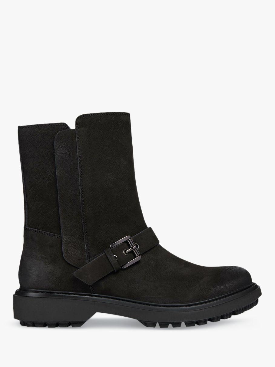 Geox Geox Women's Asheely Nubuck Leather Buckle Calf Boots, Black