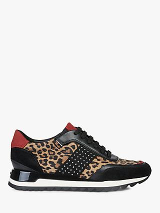 Geox Women's Tabelya Leopard Print Lace Up Trainers, Black