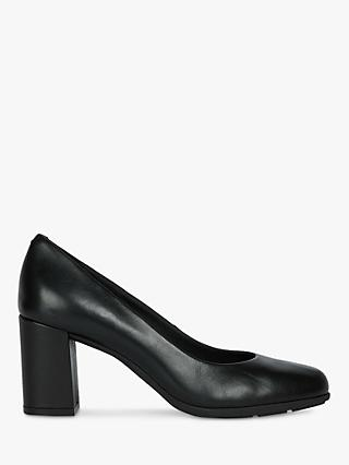 Geox Women's Annya Leather Block Heel Court Shoes, Black