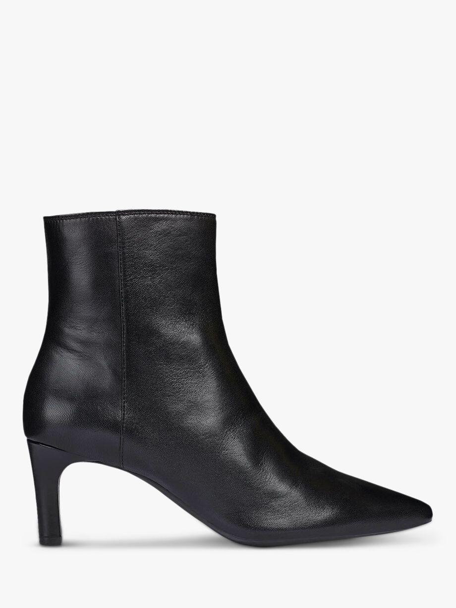 Geox Geox Women's Bibbiana Leather Pointed Toe Ankle Boots, Black