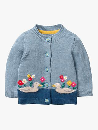 Mini Boden Baby Nature Duck Detail Cardigan, Colourburst Blue