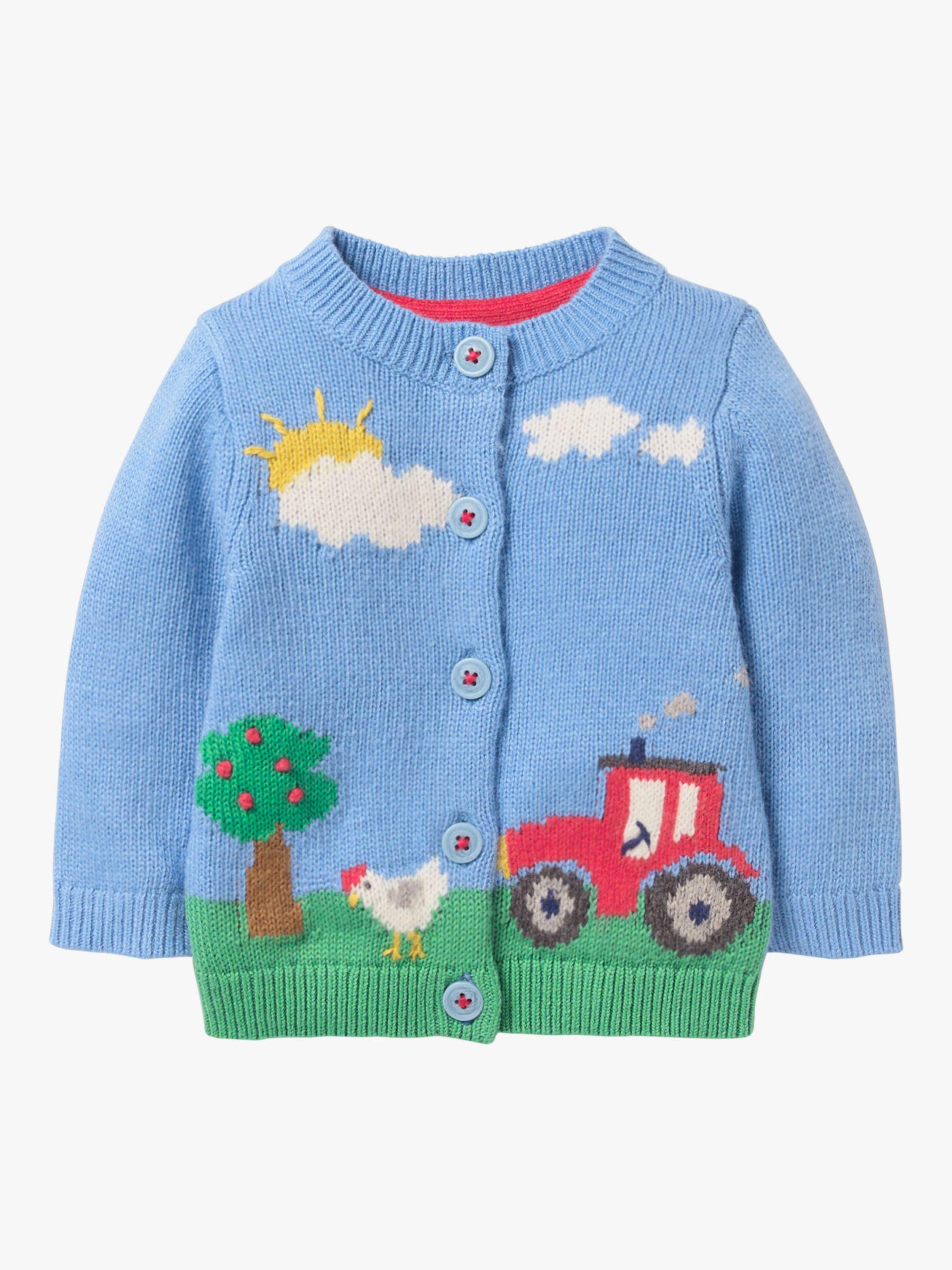 Mini Boden Mini Boden Baby Farm Scene Cardigan, Blue