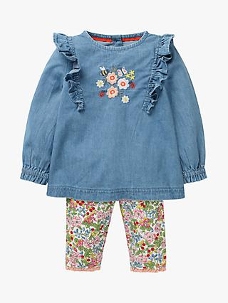 Mini Boden Baby Floral Ruffle Top and Leggings Set, Blue