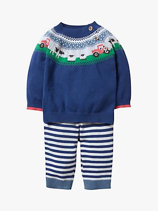 f8d3bdab2b9886 Mini Boden Baby Knitted Farmyard Jumper and Legging Set, Blue