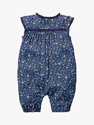 Mini Boden Baby Pretty Floral Romper, Blue