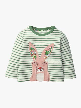 Mini Boden Baby Novelty Bunny Appliqué Top, Ivory/Green