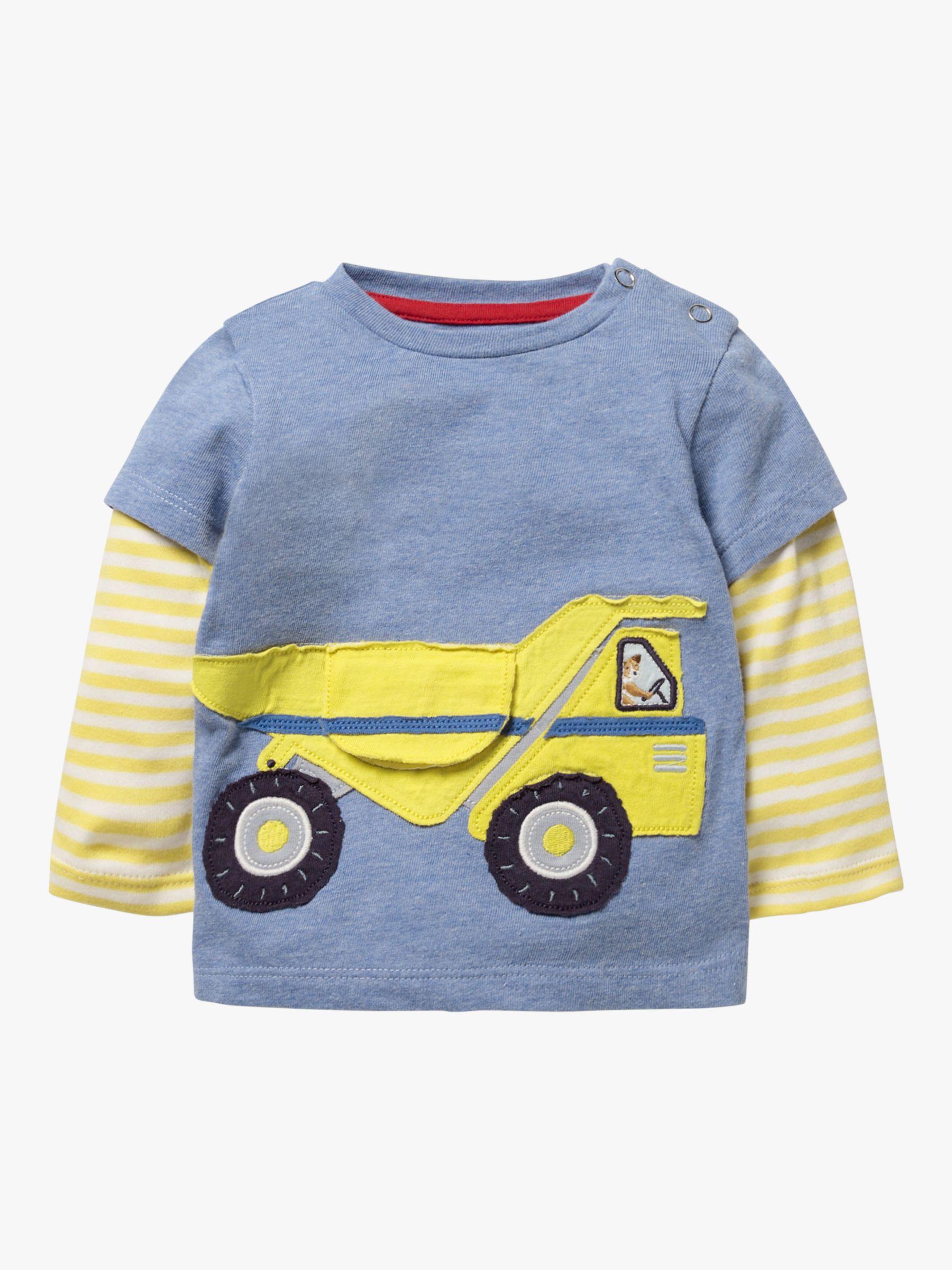Mini Boden Mini Boden Baby Truck Appliqué Stripe Sleeve Top, Blue Marl