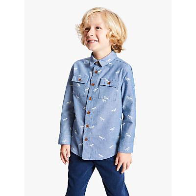 John Lewis & Partners Boys' Dinosaur Shirt, Light Blue