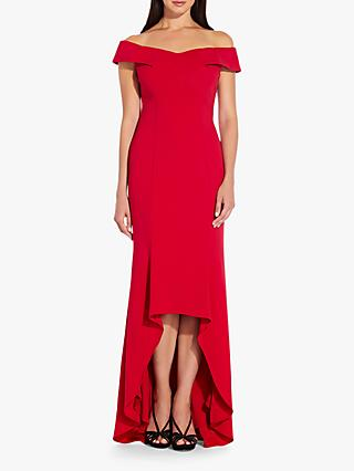 Adrianna Papell Off Shoulder Wrap Gown, Spiced Apple Red