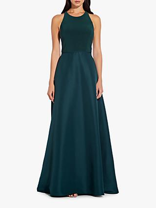 Adrianna Papell Jersey Taffeta Dress, Black, Dusty Emerald