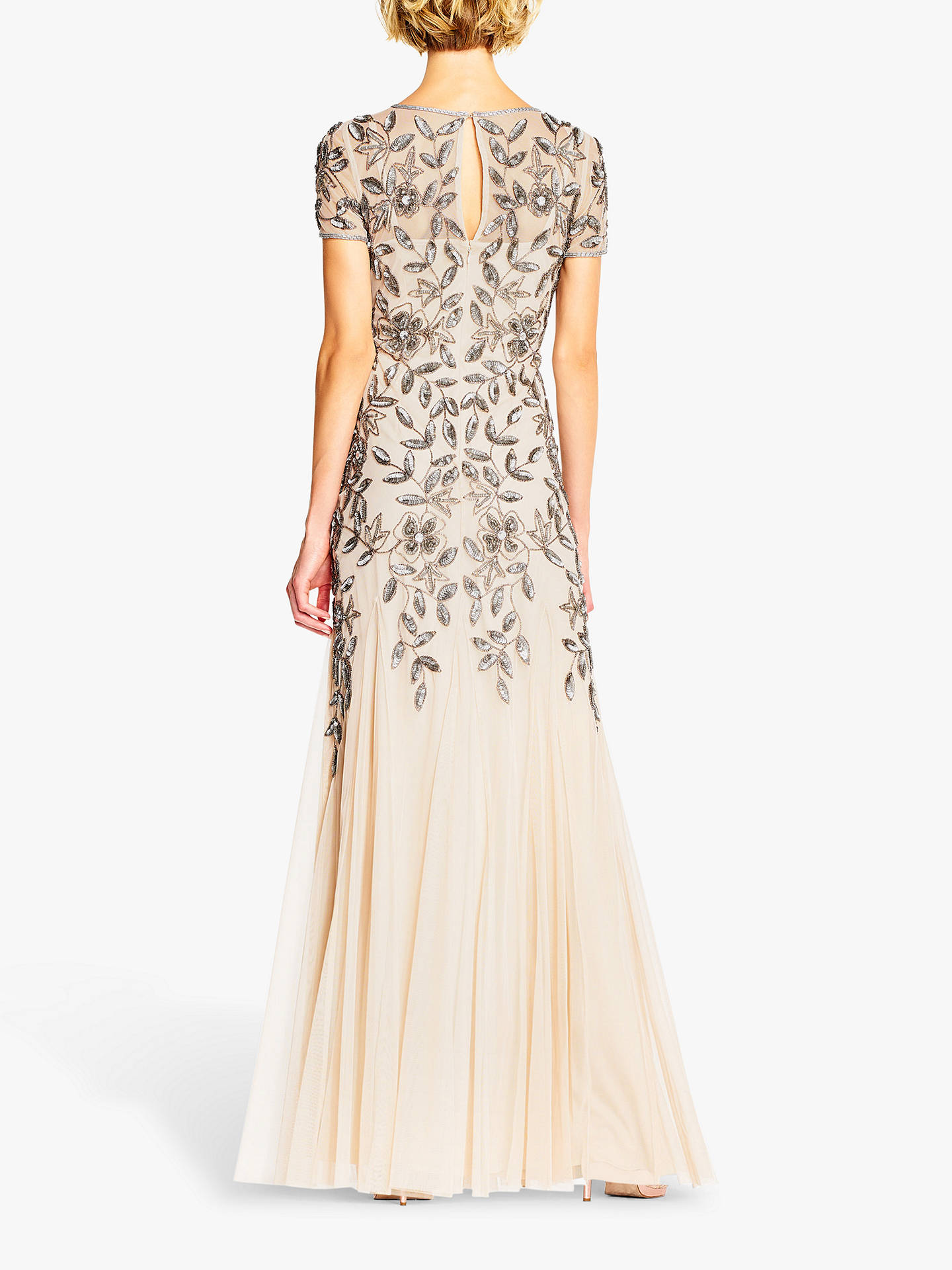 Adrianna Papell Floral Beaded Dress, TaupePink at John