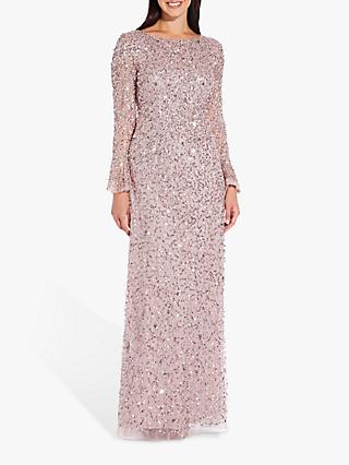 Adrianna Papell Full Length Beaded Dress, Cameo