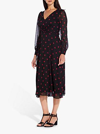 Adrianna Papell Daisy Dot Midi Dress, Black/Red
