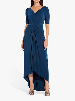 Adrianna Papell Ruched High Low Dress, Midnight Teal