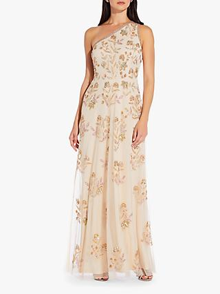 Adrianna Papell Beaded One Shoulder Gown, Pale Nude